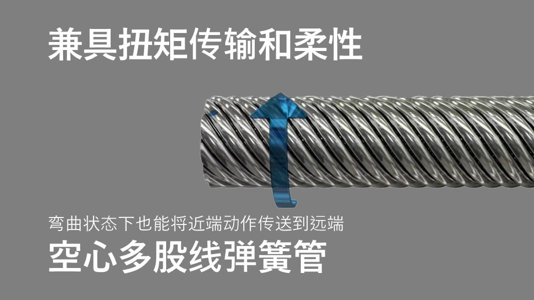 既柔软又能将近端的旋转操作传递到远端、导管轴